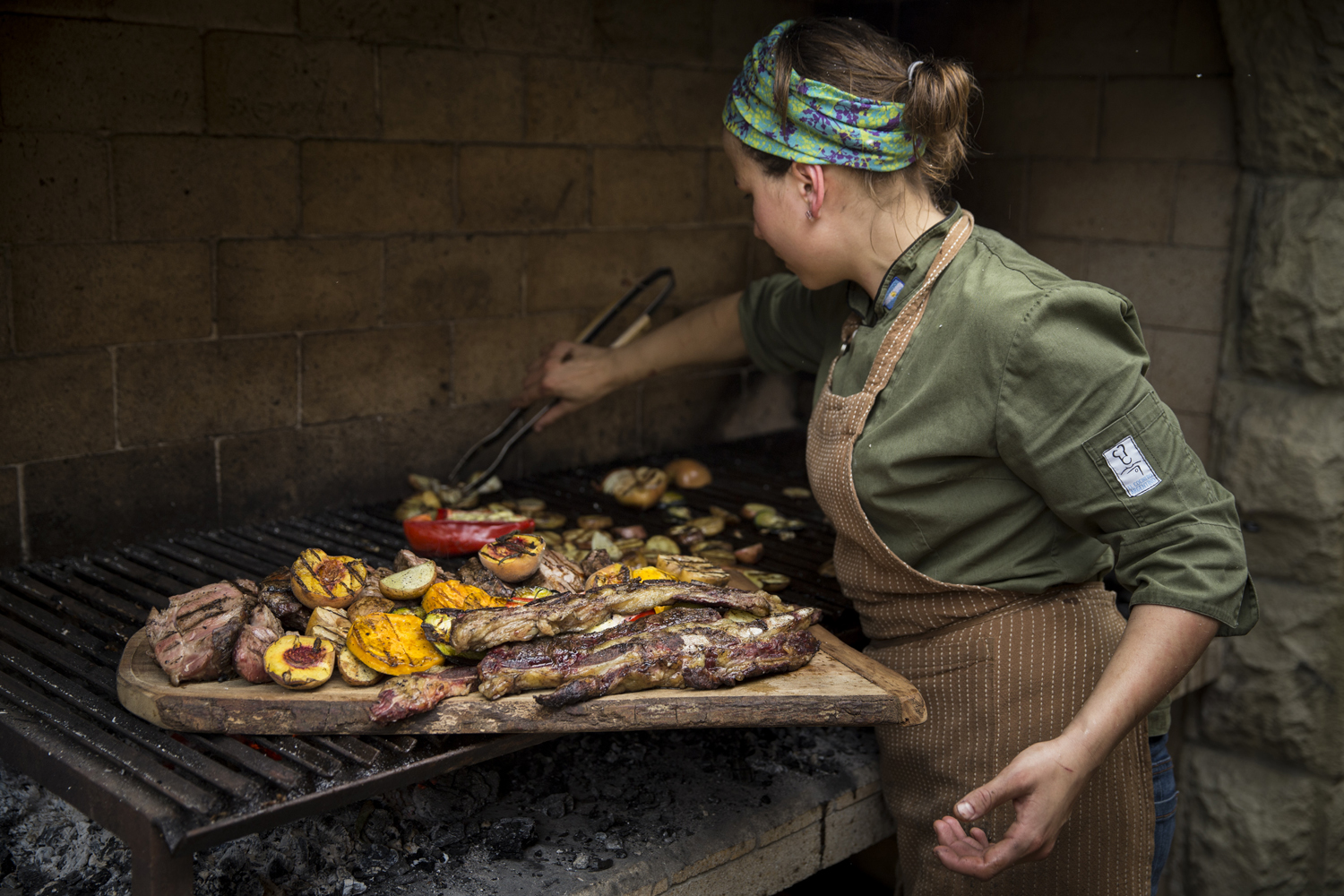 Our chef prepares an asado.