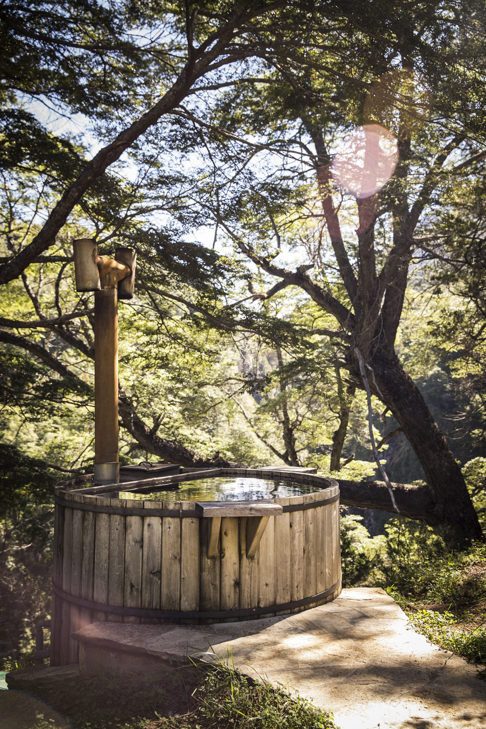 Wood-fired hot tubs at La Confluencia