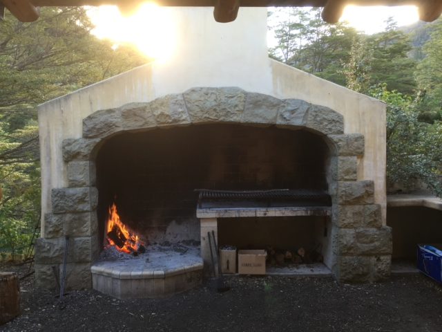 The outdoor asado fireplace